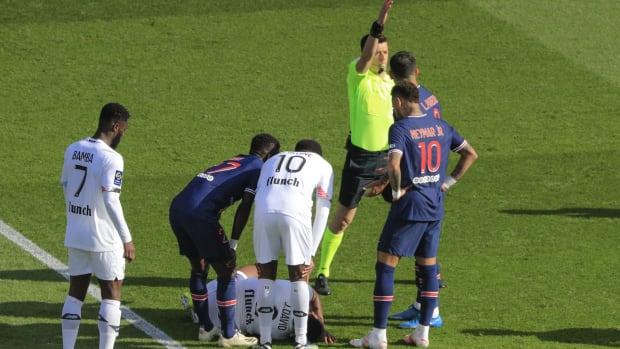 Neymar is sent off against Lille.