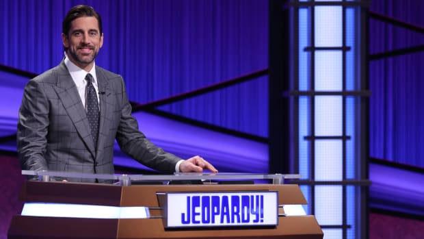 "Aaron Rodgers behind the podium on ""Jeopardy!"""