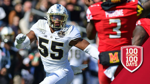 Oct 12, 2019; West Lafayette, IN, USA; Purdue Boilermakers defensive end Derrick barnes (55) pressures Maryland Terrapins quarterback Tyrell Pigrome (3) in the first half at Ross-Ade Stadium. Mandatory Credit: Thomas J. Russo-USA TODAY Sports