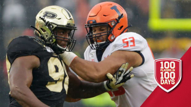 Purdue defensive end Kai Higgins (98) is blocked by Illinois offensive lineman Kendrick Green (53) during the first quarter of a NCAA football game, Saturday, Oct. 26, 2019 at Ross-Ade Stadium in West Lafayette. Cfb Purdue Vs Illinois