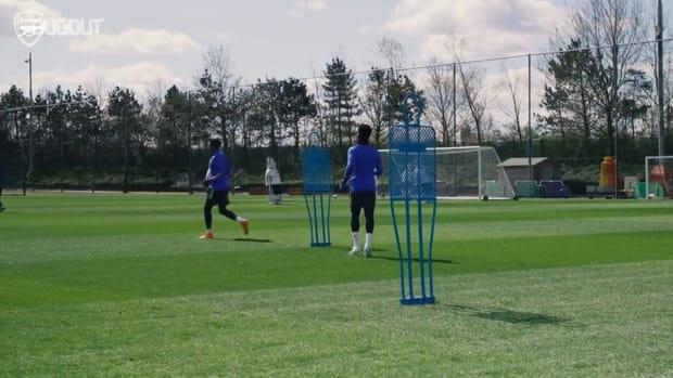 Arsenal players work hard in training before Slavia Prague clash