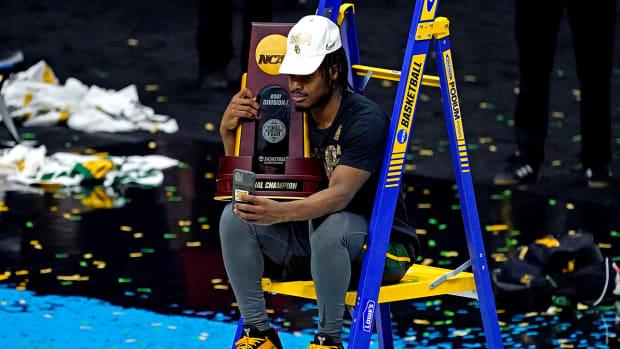 Davion Mitchell after winning the NCAA men's tournament.