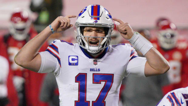 Closeup of Bills quarterback Josh Allen during a game against the Chiefs