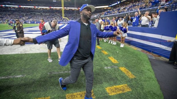 Reggie Wayne, former Colts wide receiver, during the halftime ceremony for Dwight Freeney, Miami Dolphins at Indianapolis Colts, Sunday, Nov. 10, 2019. Dolphins At Colts