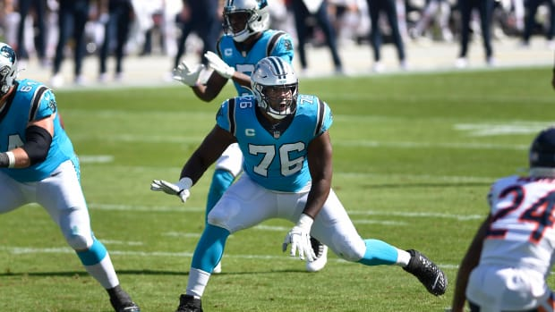 Oct 18, 2020; Charlotte, North Carolina, USA; Carolina Panthers offensive tackle Russell Okung (76) on the field in the first quarter at Bank of America Stadium. Mandatory Credit: Bob Donnan-USA TODAY Sports