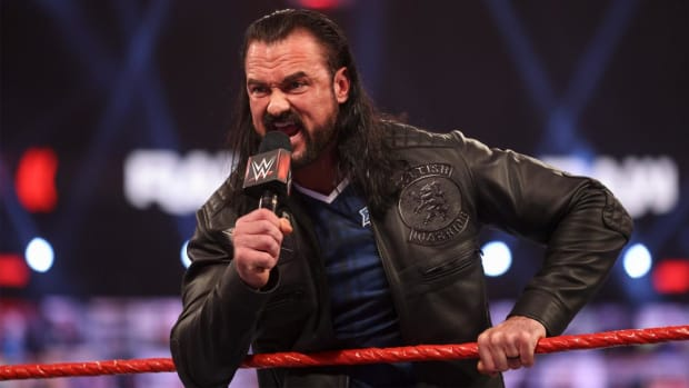 Closeup of WWE's Drew McIntyre on Raw