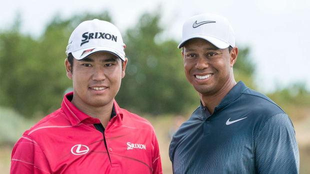 Golfers Hideki Matsuyama and Tiger Woods