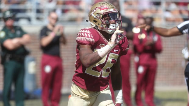 Florida State Seminoles defensive back Asante Samuel Jr. (26) after Clemson does not complete the pass as the Florida State Seminoles take on the Clemson Tigers in college football at Doak Stadium on Saturday, Oct. 27, 2018. Fsu Vs Clemson1011