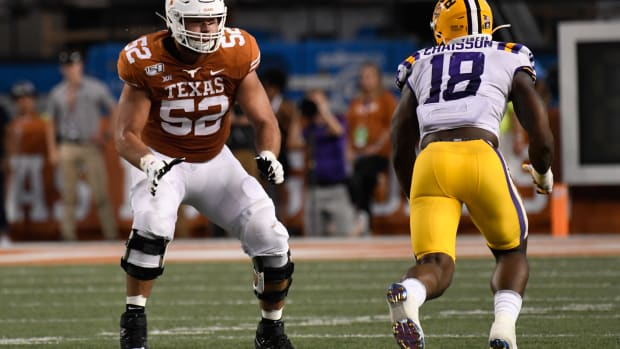 Sep 7, 2019; Austin, TX, USA; Texas Longhorns left tackle Samuel Cosmi (52) in the first half against the Louisiana State Tigers at Darrell K Royal-Texas Memorial Stadium. Mandatory Credit: Scott Wachter-USA TODAY Sports