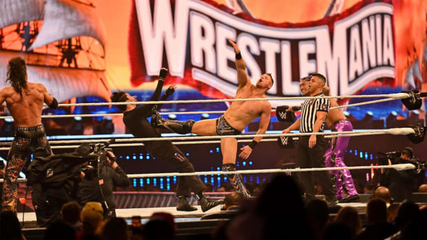 Wide shot of The Miz wrestling Bad Bunny at WrestleMania