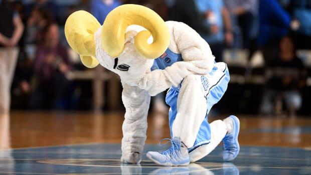 Feb 15, 2020; Chapel Hill, North Carolina, USA; North Carolina Tar Heels mascot at midcourt before the game at Dean E. Smith Center.