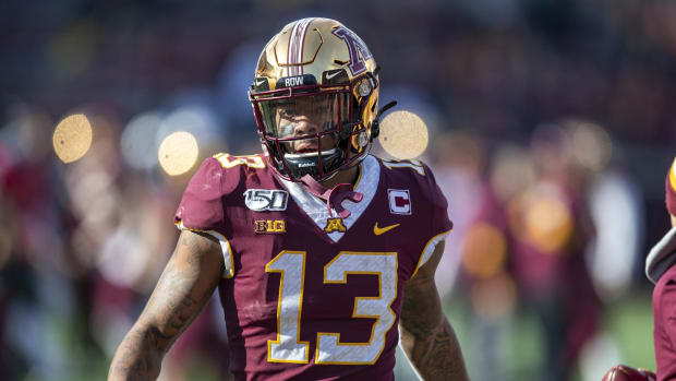 Nov 9, 2019; Minneapolis, MN, USA; Minnesota Golden Gophers wide receiver Rashod Bateman (13) looks on during pre game warmups before a game against the Penn State Nittany Lions at TCF Bank Stadium. Mandatory Credit: Jesse Johnson-USA TODAY Sports