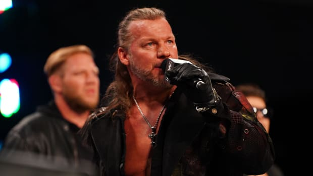 Chris Jericho cutting a promo on AEW Dynamite