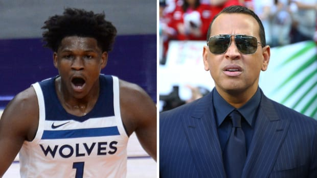 Split image of Timberwolves' Anthony Edwards and Alex Rodriguez