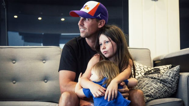 Denny Hamlin with his two daughters, Taylor and Molly.