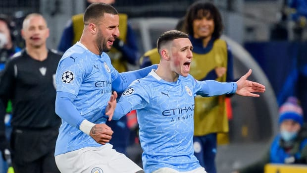 Man City's Phil Foden scores in the Champions League