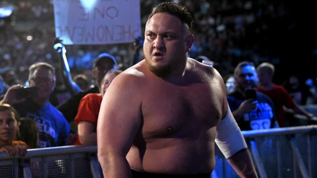 Closeup of WWE's Samoa Joe after a match