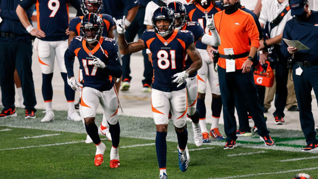 Denver Broncos wide receiver Tim Patrick (81) and wide receiver DaeSean Hamilton (17) and wide receiver Jerry Jeudy (10) in the second quarter against the Tennessee Titans at Empower Field at Mile High.