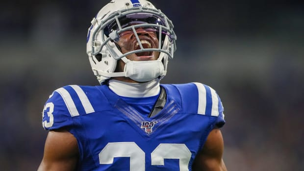 Indianapolis Colts cornerback Kenny Moore II (23) screams after knocking a pass away to stop the Jaguars on their fourth down during the third quarter of the game against the Jacksonville Jaguars at Lucas Oil Stadium in Indianapolis, Sunday, Nov. 17, 2019. The Colts won, 33-13. Indystar Staff Photographer Jenna Watson Best Photos Of The Year 2019