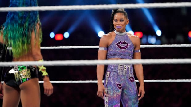 WWE's Bianca Belair tears up before her match at WrestleMania against Sasha Banks