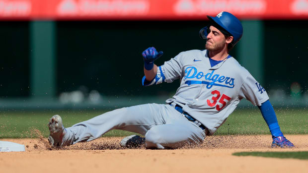 Cody Bellinger sliding into second base.