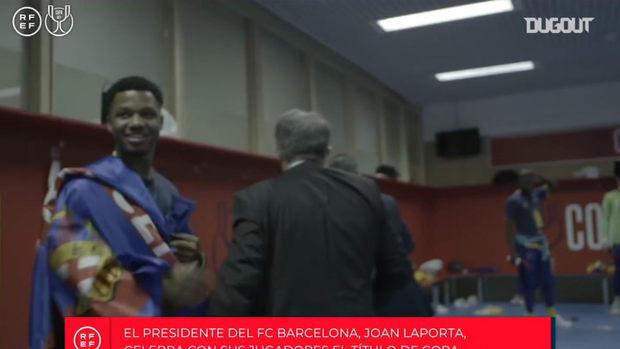 Copa del Rey celebrations inside FC Barcelona's dressing room