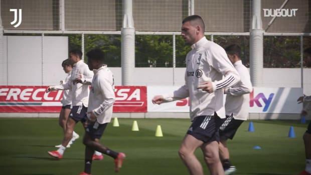 Juventus' back in training ahead of Atalanta clash