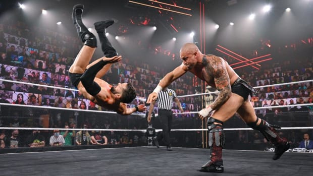 Karrion Kross tosses Finn Balor at NXT TakeOver Stand & Deliver