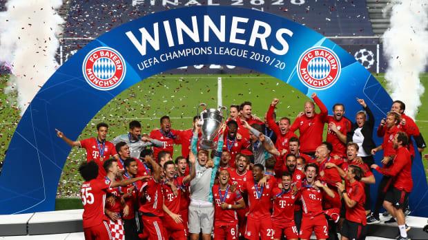 Bayern Munich celebrates after winning Champions League