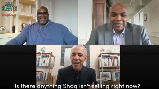 Former President Barack Obama on a video call with Shaquille O'Neal and Charles Barkley