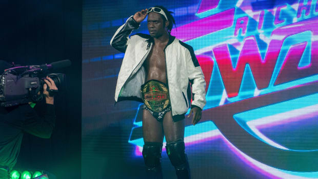 Impact Wrestling champion Rich Swann makes his entrance