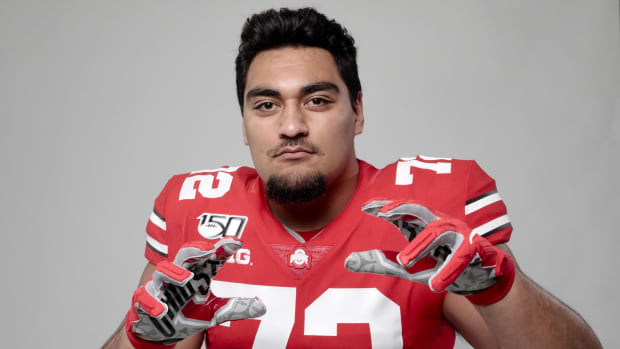 Ohio State Buckeyes defensive lineman Tommy Togiai was among 14 former Ohio State players to receive invitations to the NFL scouting combine. [Joshua A. Bickel/Dispatch] Sp Osufb Media Day Jb 81