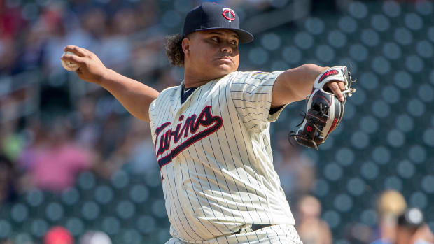Minnesota Twins catcher Willians Astudillo delivers a pitch in the ninth inning against the Tampa Bay Rays at Target Field.