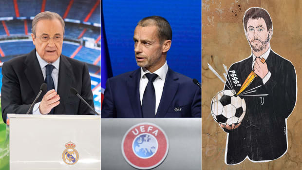 Real Madrid's Florentino Perez, UEFA's Aleksander Ceferin and Juventus's Andrea Agnelli