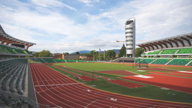 The newly renovated Hayward Field at the University of Oregon