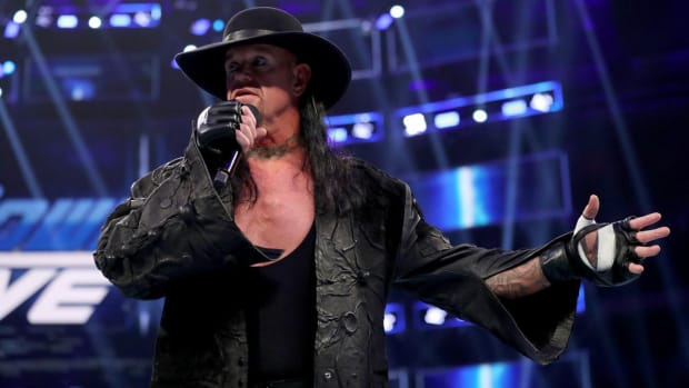 The Undertaker on the microphone during an episode of WWE SmackDown