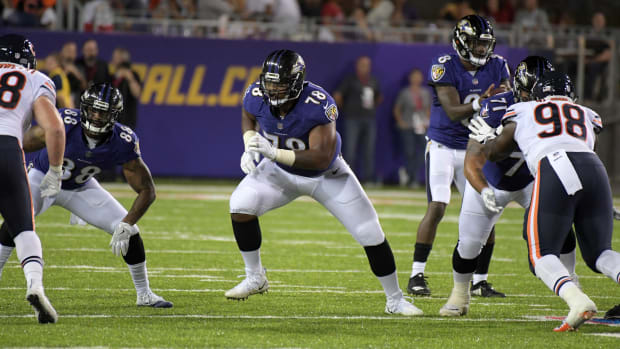 Aug 2, 2018; Canton, OH, USA; Baltimore Ravens offensive tackle Orlando Brown (78) during the Hall of Fame Game against the Chicago Bears at Tom Benson Hall of Fame Stadium. The Ravens defeated the Bears 17-16. Mandatory Credit: Kirby Lee-USA TODAY Sports