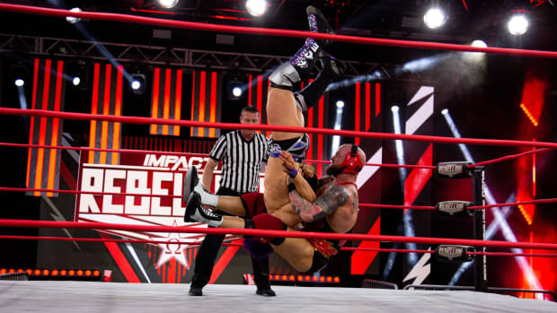 Josh Alexander delivers his finishing move at Impact's Rebellion pay-per-view
