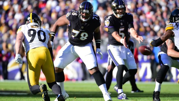 Nov 4, 2018; Baltimore, MD, USA; Baltimore Ravens offensive tackle Orlando Brown Jr. (78) blocks in the second quarter at M&T Bank Stadium. Mandatory Credit: Evan Habeeb-USA TODAY Sports
