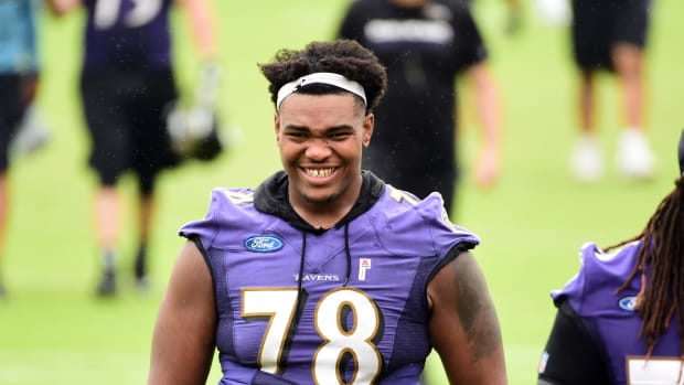 Jun 13, 2019; Baltimore, MD, USA; Baltimore Ravens offensive tackle Orlando Brown Jr. (78) walks off the field during minicamp at Under Armour Performance Center. Mandatory Credit: Evan Habeeb-USA TODAY Sports