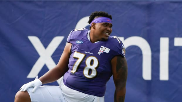 Aug 17, 2020; Owings Mills, Maryland, USA; Baltimore Ravens offensive tackle Orlando Brown Jr. (78) during training camp at Under Armour Performance Center. Mandatory Credit: Tommy Gilligan-USA TODAY Sports