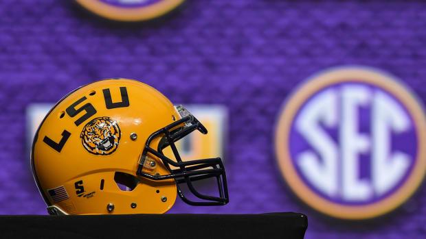 An LSU football helmet.