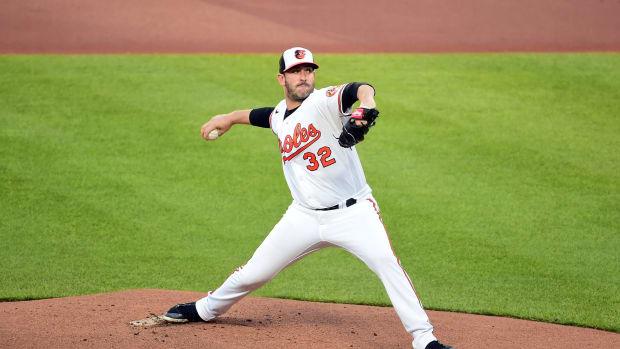 Orioles SP Matt Harvey pitching vs. Yankees