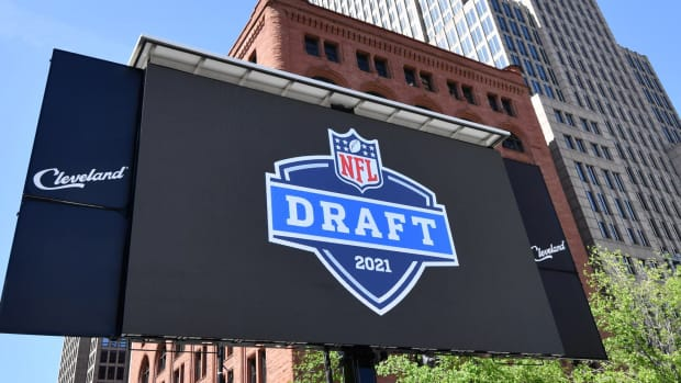 May 23, 2019; Cleveland, OH, USA; Signage for the 2012 NFL Draft during a press conference in Public Square to announce Cleveland as the host of the 2021 NFL draft.
