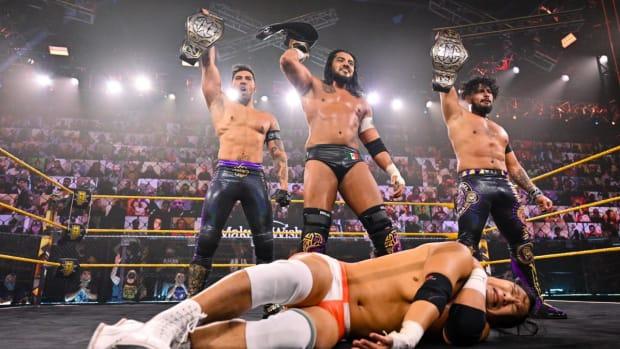 Santos Escobar and Legado Del Fantasma pose on NXT after defeating Kushida and MSK