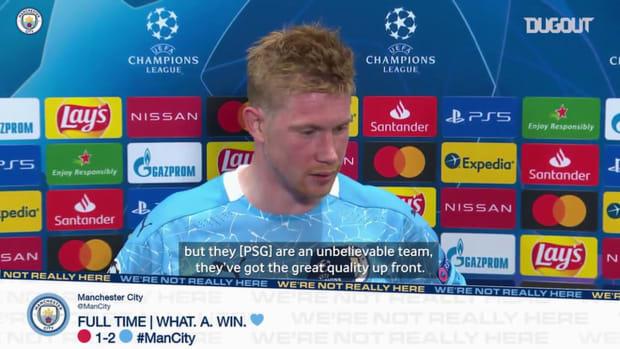 Kevin De Bruyne on Manchester City's win at PSG, and Riyad Mahrez free-kick