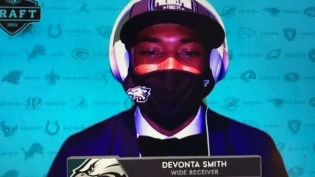 DeVonta Smith after being drafted by the Eagles