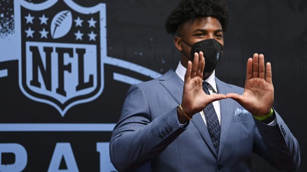 Miami edge rusher Gregory Rousseau appears on the Red Carpet at the Rock & Roll Hall of Fame before the first round of the 2021 NFL football draft.
