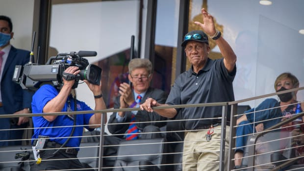 Apr 5, 2021; Arlington, Texas, USA; Former Texas Rangers pitcher Ferguson Fergie Jenkins waves to the crowd during the game between the Texas Rangers and the Toronto Blue Jays at Globe Life Field.