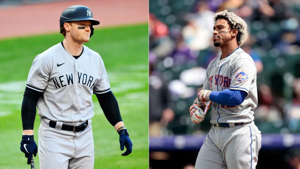 Brett Gardner of the Yankees and Francisco Lindor of the Mets